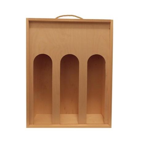 Fa dobozok, tartók, tasakok 3-as Fadoboz bordoi palack