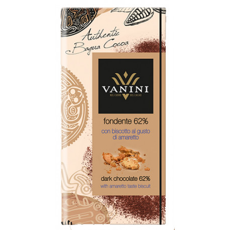 Vanini 62%-os étcsokoládé amorettós keksszel 100g