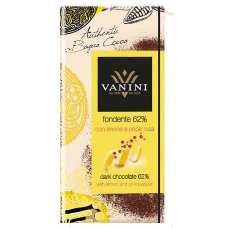 Vanini 62%-os étcsokoládé kandírozott citrommal és rózsaborssal 100g