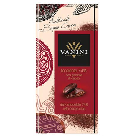 Vanini 74%-os étcsokoládé kakaóbab törettel 100g
