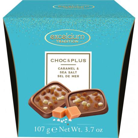Excelcium Choc & Plus tejcsokoládé sós-karamella darabokkal 107g
